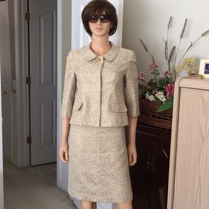 Talbots soft gold and white 2 piece suit